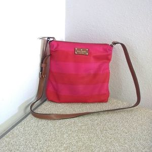 Kate Spade NY Striped Nylon Leather Trim Bag